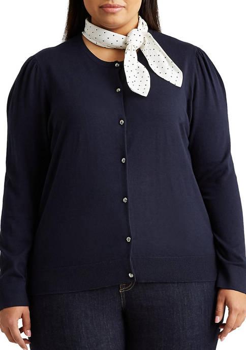 Lauren Ralph Lauren Plus Size Neck-Scarf Cotton Cardigan