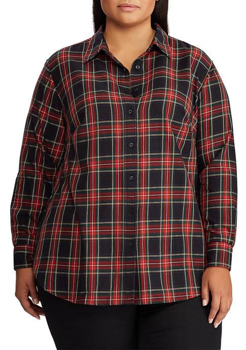 Lauren Ralph Lauren Plus Size Collared Cotton Shirt