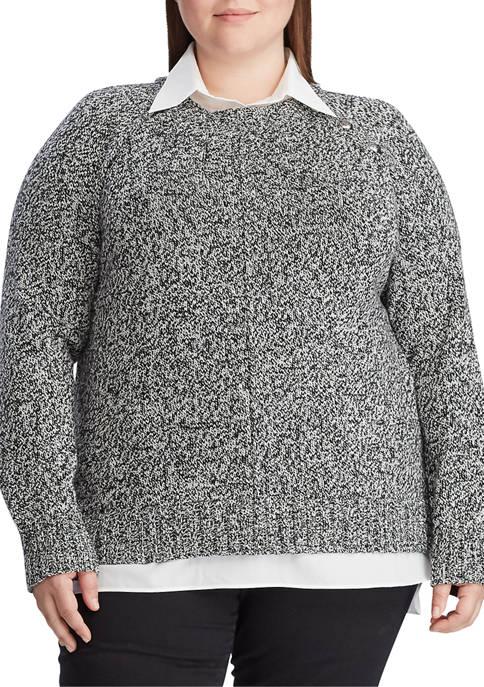 Lauren Ralph Lauren Plus Size Layered Cotton-Blend Sweater