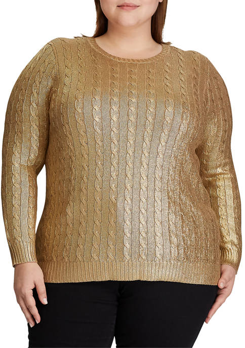 Lauren Ralph Lauren Plus Size Metallic Cable Knit