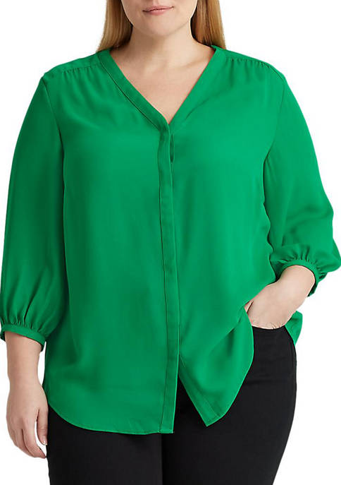 Plus-Size Pleated Georgette Top