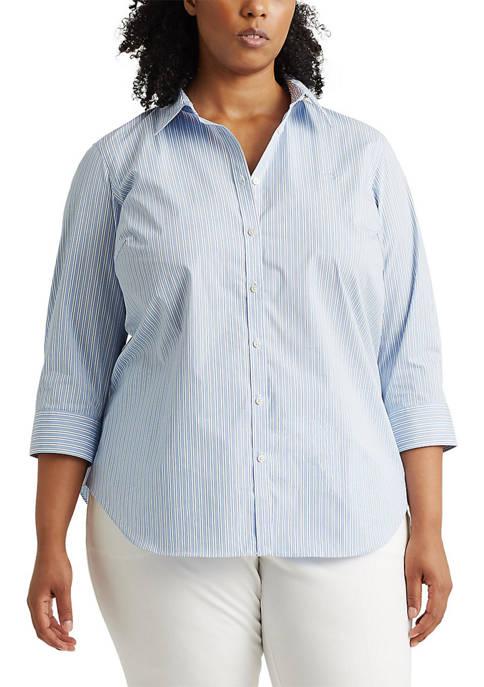 Plus Size 3/4 Sleeve Non Iron Shirt