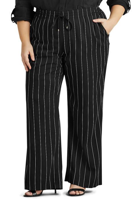 Lauren Ralph Lauren Plus-Size Pinstripe Wide-Leg Pant