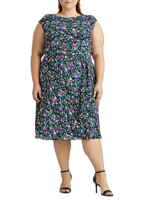 Lauren Ralph Lauren Plus Size Georgette Cap-Sleeve Dress
