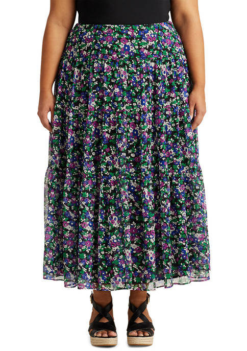 Plus-Size Floral Tiered Peasant Skirt