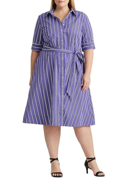 Lauren Ralph Lauren Plus-Size Belted Cotton Shirtdress