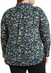 Plus-Size Floral-Print Cotton Shirt