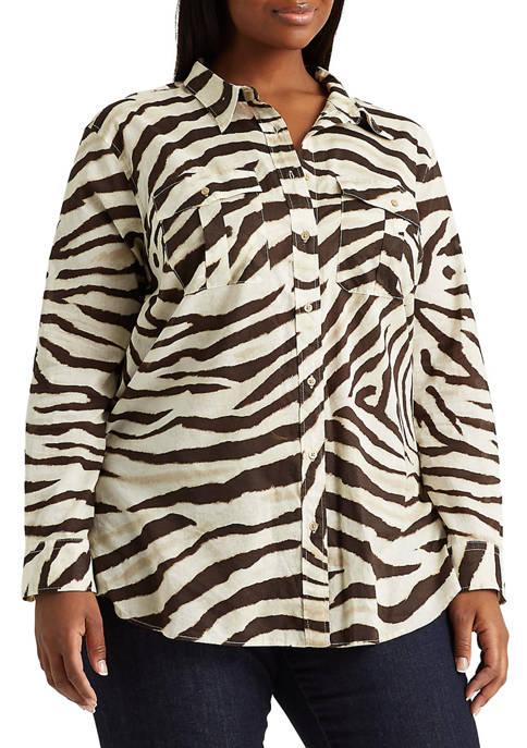 Plus-Size Print Cotton Shirt