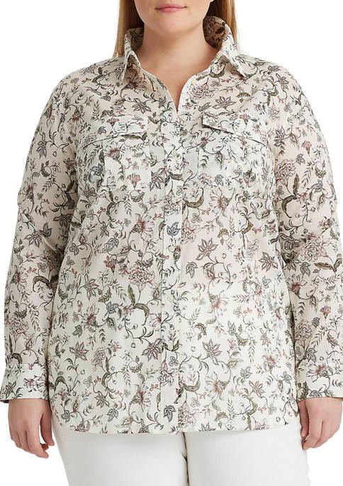 Lauren Ralph Lauren Plus-Size Floral Cotton Shirt