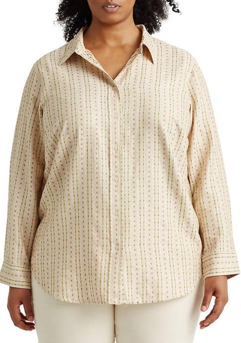 Lauren Ralph Lauren Plus-Size Floral Striped Jacquard Shirt