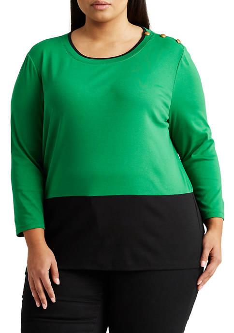 Lauren Ralph Lauren Plus-Size Color-Blocked Top