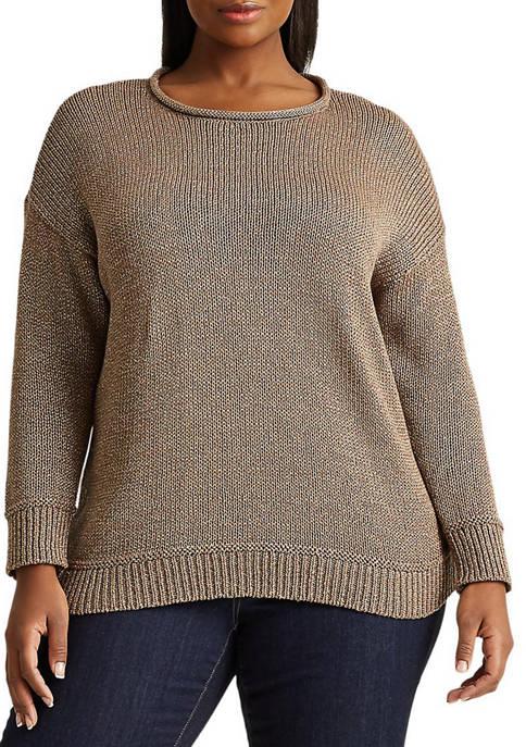 Lauren Ralph Lauren Plus-Size Cotton-Blend Sweater