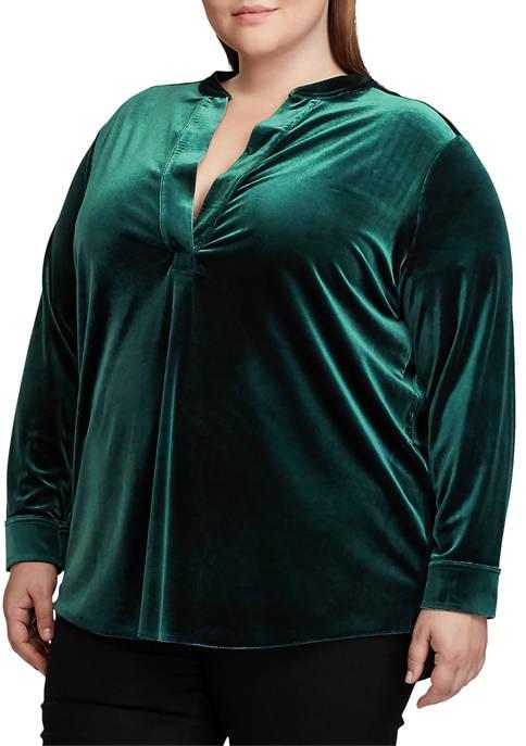Plus Size Velvet Blouse