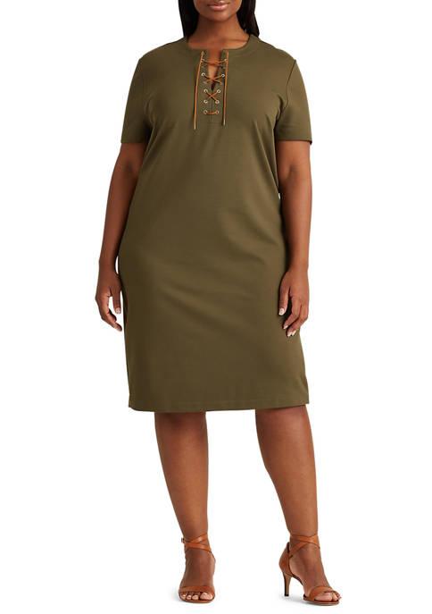 Lauren Ralph Lauren Plus-Size Lace-Up Ponte Shift Dress