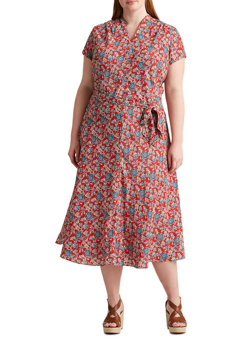 Lauren Ralph Lauren Plus Size Floral Crepe Midi