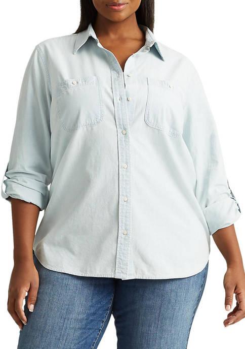 Lauren Ralph Lauren Plus-Size Cotton Chambray Shirt