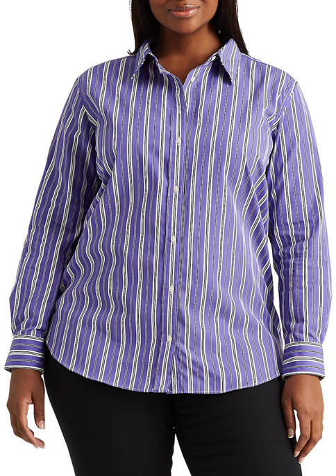 Plus-Size Broadcloth Button-Down Shirt