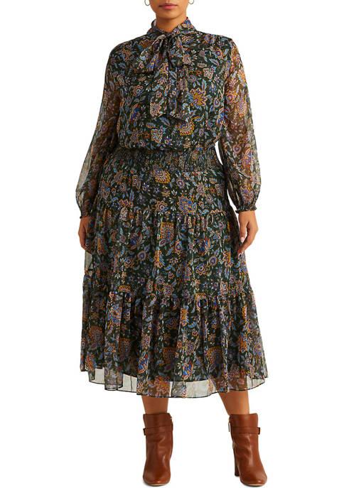 Lauren Ralph Lauren Plus-Size Ascot-Print Georgette Dress
