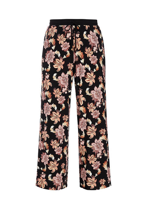 Lauren Ralph Lauren Plus-Size Print Jersey Wide-Leg Pant