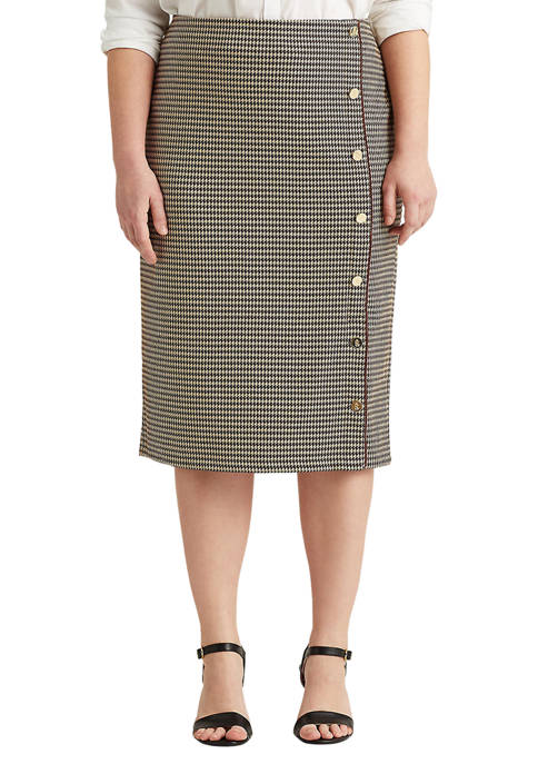 Lauren Ralph Lauren Plus-Size Houndstooth Knit Jacquard Skirt