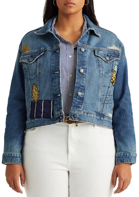 Lauren Ralph Lauren Plus Size Patch Denim Jacket