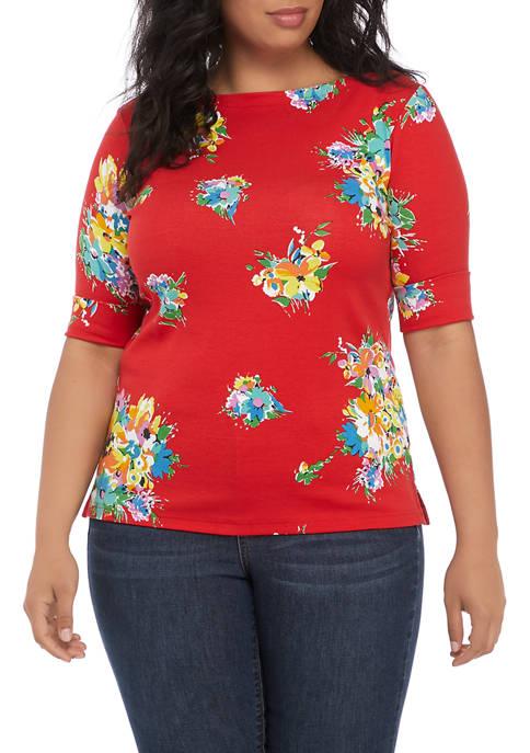 Lauren Ralph Lauren Plus Size Floral Stretch Cotton