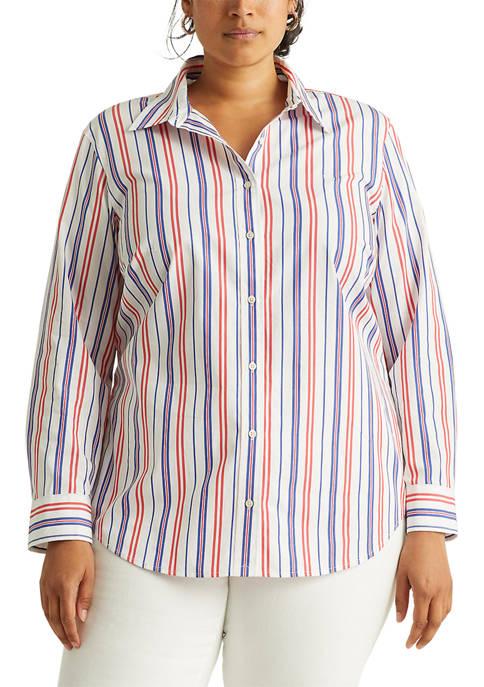 Lauren Ralph Lauren Plus Size Striped Cotton Broadcloth