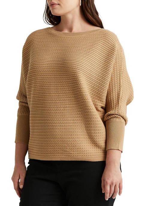 Lauren Ralph Lauren Plus-Size Cable-Knit Boatneck Sweater