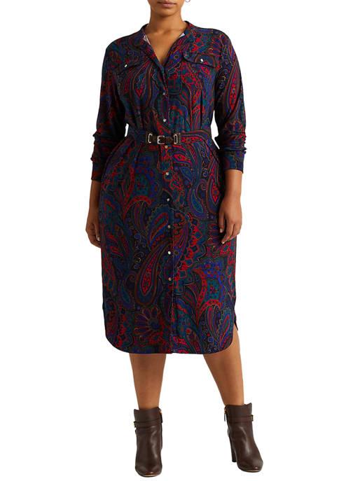 Lauren Ralph Lauren Plus-Size Paisley Belted Jersey Shirtdress