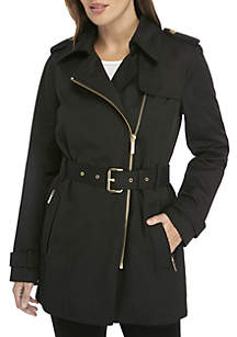 Zip Detail Trench Jacket