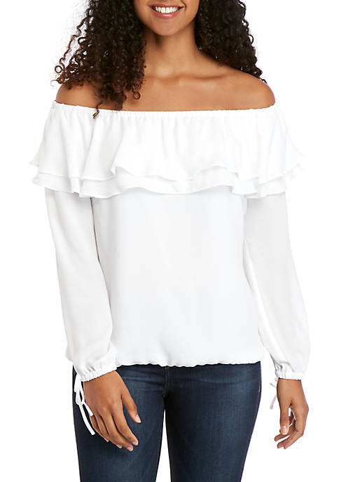 Ruffle Off The Shoulder Peasant Blouse