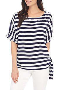 Graphic Stripe Side Tie Blouse