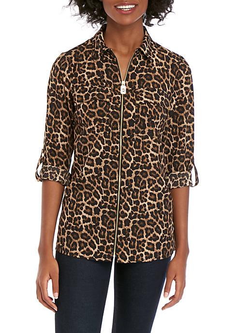 MICHAEL Michael Kors Leopard Dog Tag Shirt