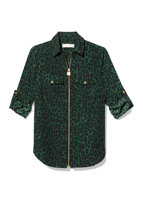 Cheetah Roll Sleeve Dog Tag Shirt