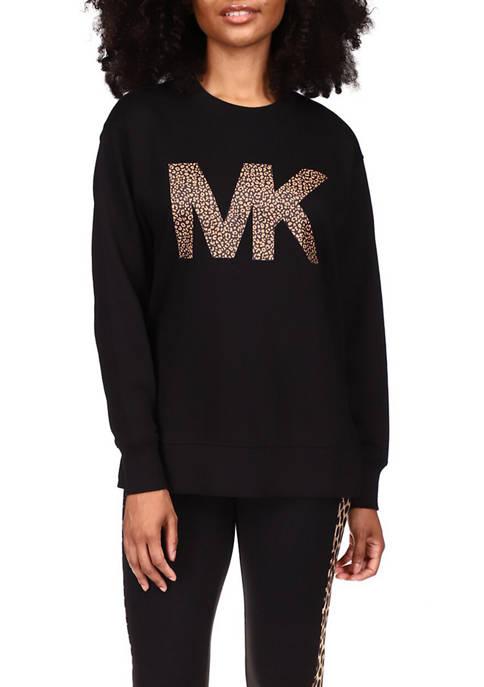 MICHAEL Michael Kors Womens Cheetah Logo Sweatshirt