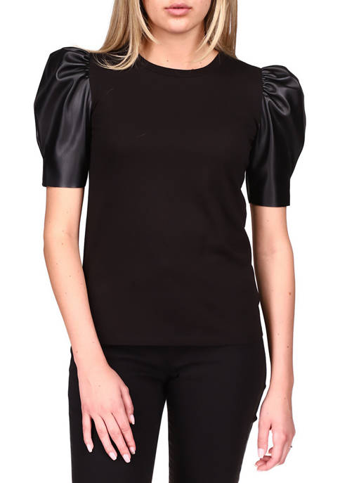 MICHAEL Michael Kors Womens Puff Sleeve Top