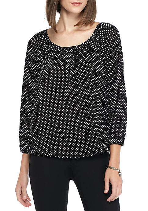 MICHAEL Michael Kors Polka Dot Scoop Neck Peasant