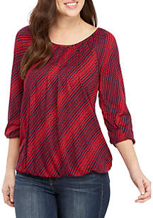 MICHAEL Michael Kors Bias Print Peasant Knit Top