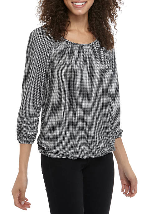 MICHAEL Michael Kors Womens Check Peasant Knit Blouse
