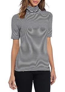 Stripe Short Sleeved Turtleneck Top