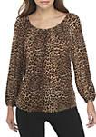 Womens Leopard Print Peasant Top
