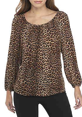 MICHAEL Michael Kors Leopard Print Peasant Top ... 148bf1652f2e5
