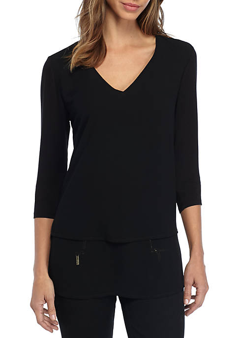 MICHAEL Michael Kors V-Neck Mixed Media Three-Quarter Sleeve