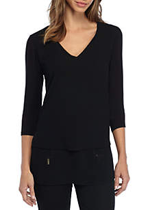 MICHAEL Michael Kors V-Neck Mixed Media Three-Quarter Sleeve Top