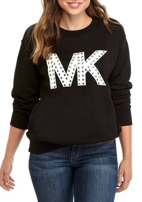 MICHAEL Michael Kors Womens Embroidered Logo Sweatshirt