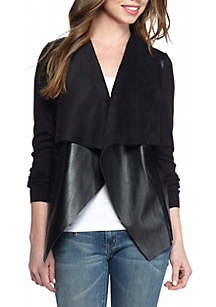 Leather Drape Front Sweater Jacket