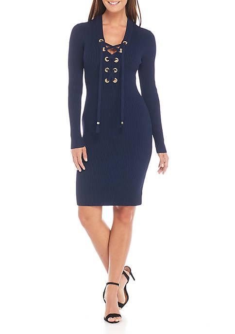MICHAEL Michael Kors Lace-Up Rib Dress
