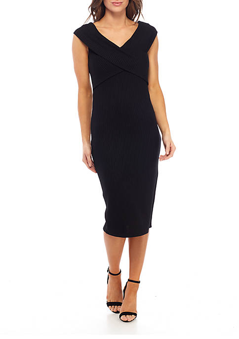 Cross Collar Ribbed Dress