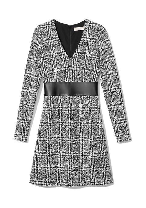 Womens Menswear Jacquard Waist Trim Dress