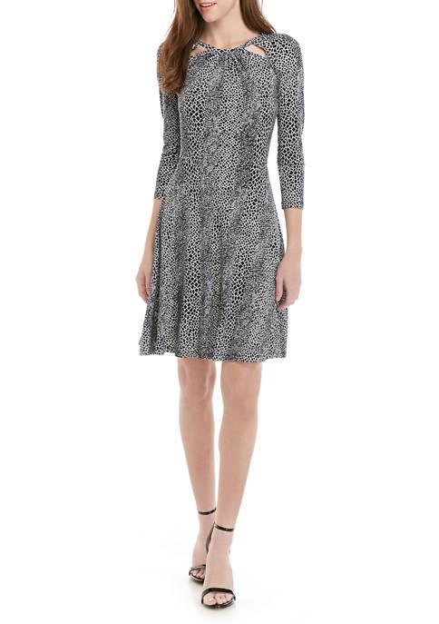 MICHAEL Michael Kors Womens 3/4 Sleeve Cutout Dress